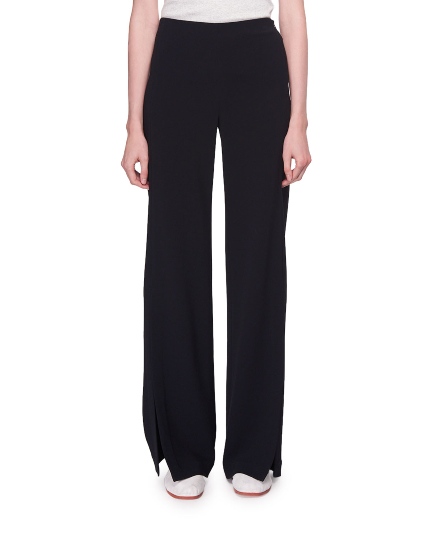 Zaber Mid-Rise Wide-Leg Crepe Pants