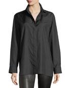 Button-Front Long-Sleeve Silk Shirt