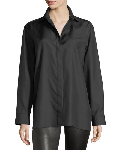 Button-Front Long-Sleeve Silk Shirt