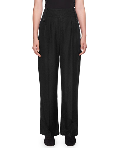 Kiefer High-Waist Wide-Leg Wool-Blend Pants