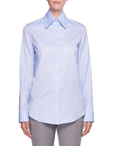 Ravia Button-Front Cotton Shirt