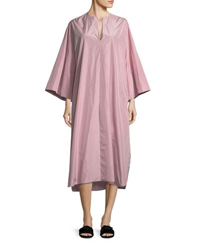 Darrow Split-Neck Oversized Taffeta Midi Dress
