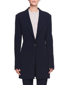 Maklin One-Button Long Wool Blazer Jacket