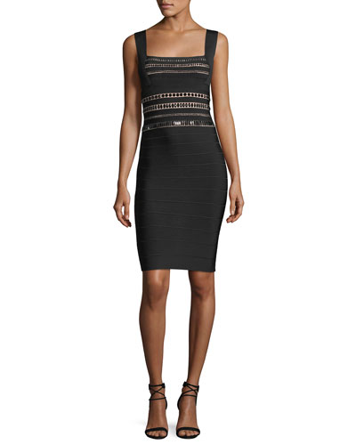 Square-Neck Beaded Bandage Cocktail Dress
