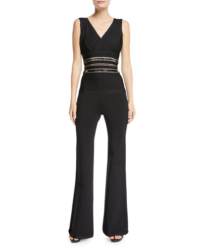 V-Neck Sleeveless Flared-Leg Jumpsuit