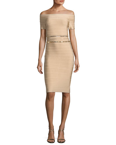Off-the-Shoulder Bandage Cocktail Dress with Beaded Embellishments