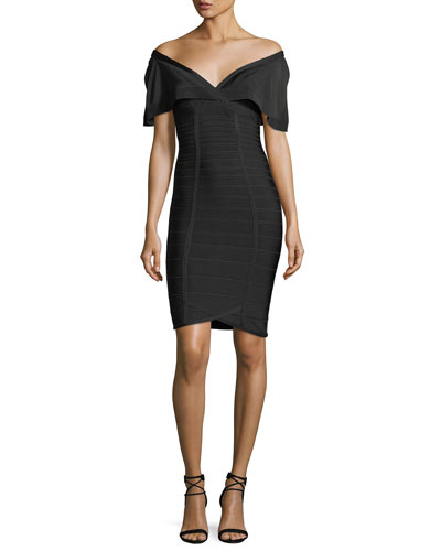 Off-the-Shoulder Bandage Cocktail Dress with Silk Detail