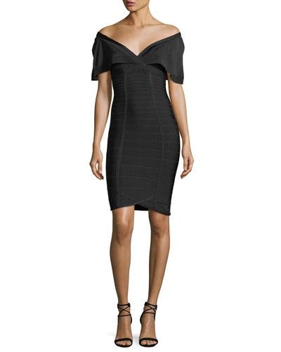 Off-the-Shoulder Bandage Cocktail Dress with Silk Detail