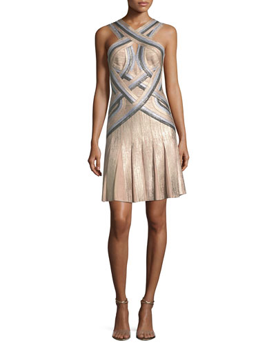 Tricolor Sleeveless Halter-Neck Bandage Cocktail Dress