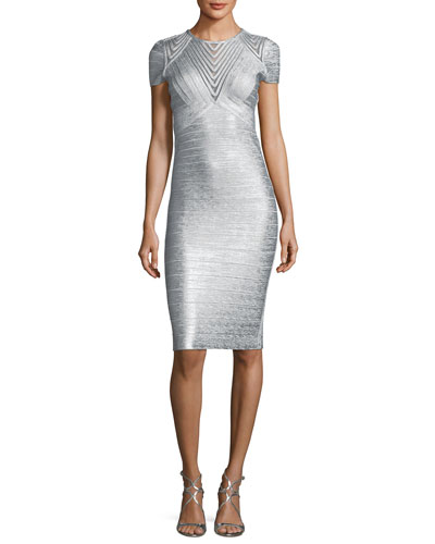 Geometric Illusion Straight Bandage Cocktail Dress