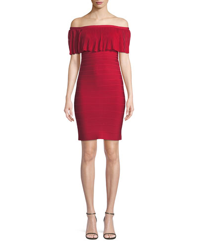 Off-the-Shoulder Pleated Knit Straight Cocktail Dress