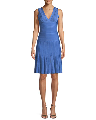 V-Neck Sleeveless Scalloped Pointelle Body-Con Cocktail Dress