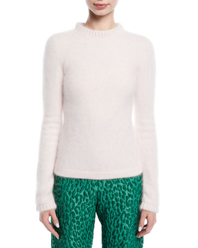 Long-Sleeve Mohair Ribbed-Trim Fluff Sweater