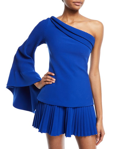 One-Shoulder Pintucked-Sleeve Crepe Statement Top
