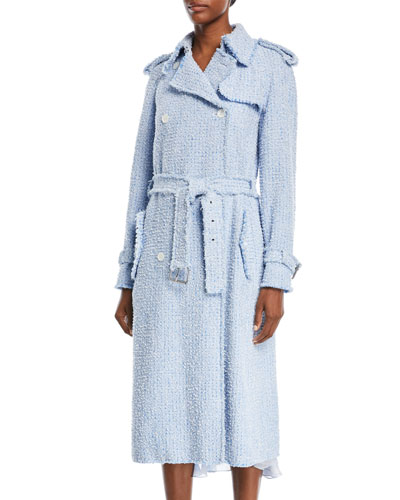 Button-Front Tweed Trench Coat