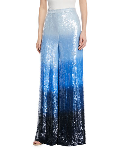 Dip-Dyed Embroidered Sequin Wide-Leg Trousers