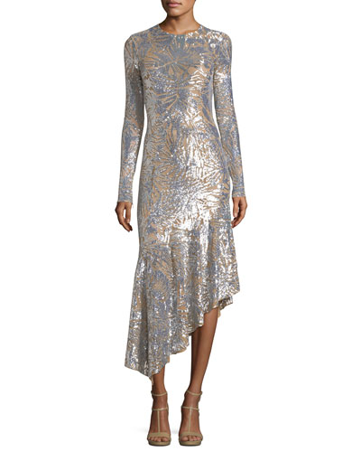 Leaf Paillettes Long-Sleeve Midi Dress