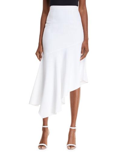 Asymmetrical Crepe Midi Skirt