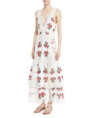 Darling Plunging Sleeveless Lace Day Dress w/ Cherry Embroidery