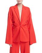 Plunging Bell-Sleeve Torqued Interlock Jersey Jacket