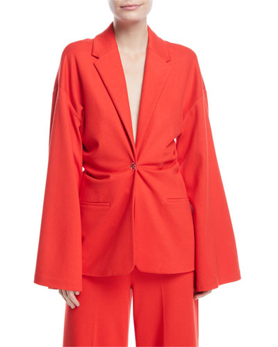 Plunging Bell-Sleeve Torqued Interlock Jersey Jacket