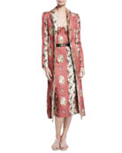 Carolyn Floral-Wallpaper Jacquard Belted Fitted Coat w/ Raw Edges
