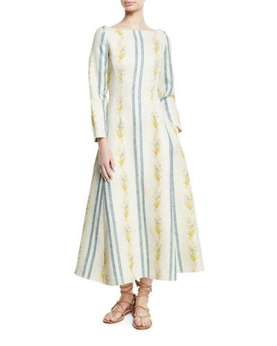 Dilian Bateau-Neck Floral & Stripe-Print Linen Midi Dress