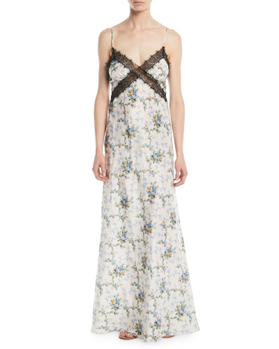 Donnie V-Neck Rose de Chine Taffeta Silk Evening Gown w/ Lace Insets