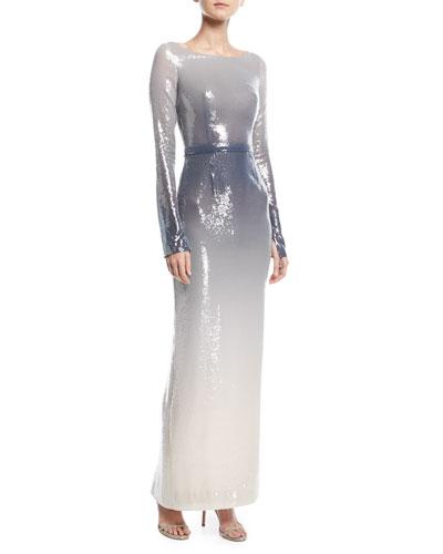 Scoop-Neck Long-Sleeve Sequin Column Evening Gown