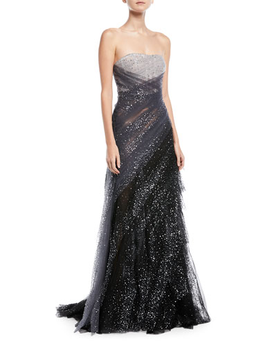 Sequin Embroidered Hand Draped Tulle Evening Gown