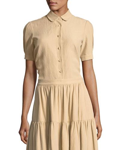 Short-Sleeve Button-Front Cotton-Linen Top