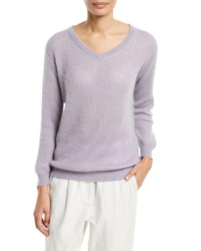 Metallic Mohair-Blend Ribbed Sweater