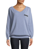 2-Ply Cashmere V-Neck Sweater w/ Monili Trim