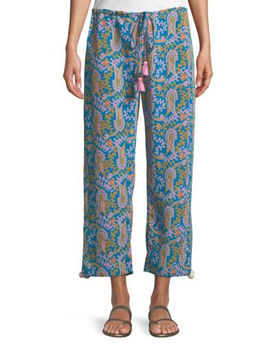 Goa Bahia Beach Paisley-Print Straight-Leg Crop Pants