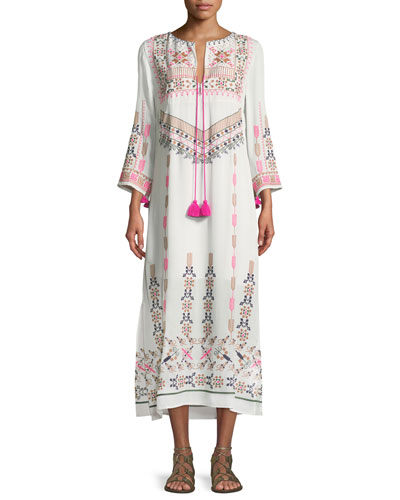 Figue Josefina Split-Neck 3/4-Sleeve Embroidered Kaftan Dress