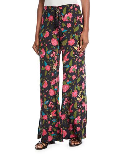 Ipanema Wide-Leg Side-Zip Floral-Print Pants