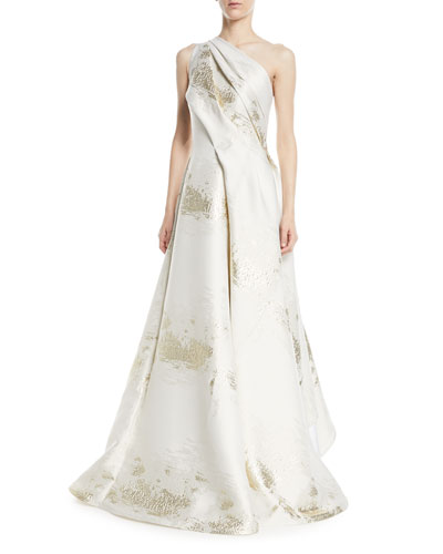 One-Shoulder Hand-Draped Evening Gown with Metallic