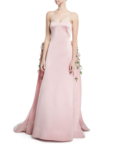 Strapless Duchess Satin Evening Gown with Floral-Vine Embroidery