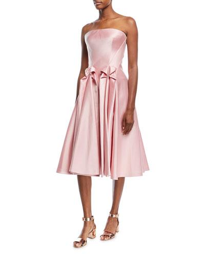 Strapless Double-Face Duchess Satin Tea-Length Cocktail Dress