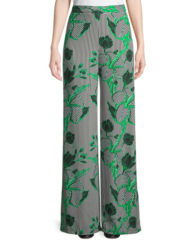 Linear Floral-Printed Wide-Leg Crepe Pants
