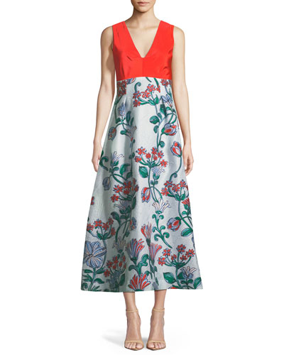 V-Neck Sleeveless A-Line Fil-Couple Dress with Drawn Floral Jacquard