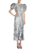 Short Puff-Sleeves Embellished Paillette Fitted Evening Gown