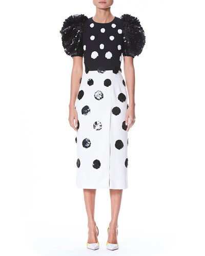 Short Puff-Sleeve Fitted Dotted Cocktail Dress