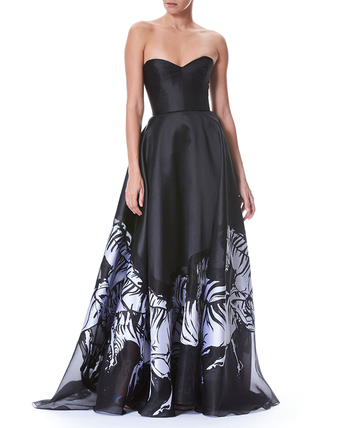 Strapless Belted Bustier Zebra-Print Evening Gown