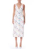 Sleeveless V-Neck Button-Front Printed Midi Dress