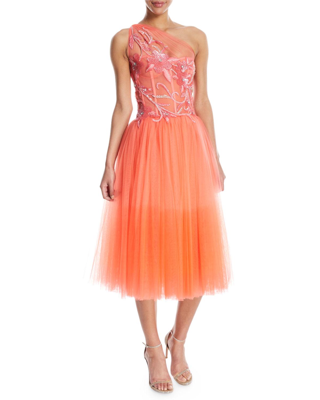 One-Shoulder Embroidered Sequin Dress