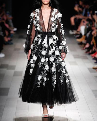 Long-Sleeve Tulle Tea-Length Evening Gown w/ 3-D Floral Appliques