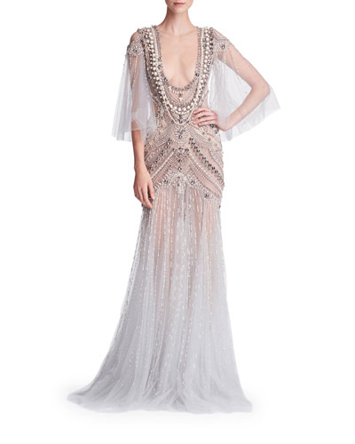 Cape-Sleeve Embellished Tulle Evening Gown w/  Necklace Embroidery