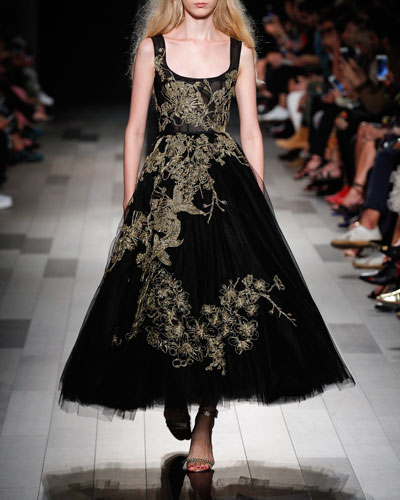 Sleeveless Scoop-Neck Tea-Length Evening Gown w/ Threadwork Embroidery