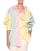 Long-Sleeve Pastel Panel Striped Oversized Cotton Blouse